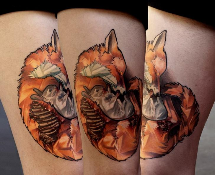 Rabbit Fox Thigh Tattoo by Dark Art Tattoo