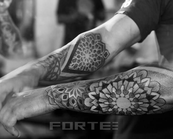Arm Dotwork Geometric Tattoo by Dillon Forte