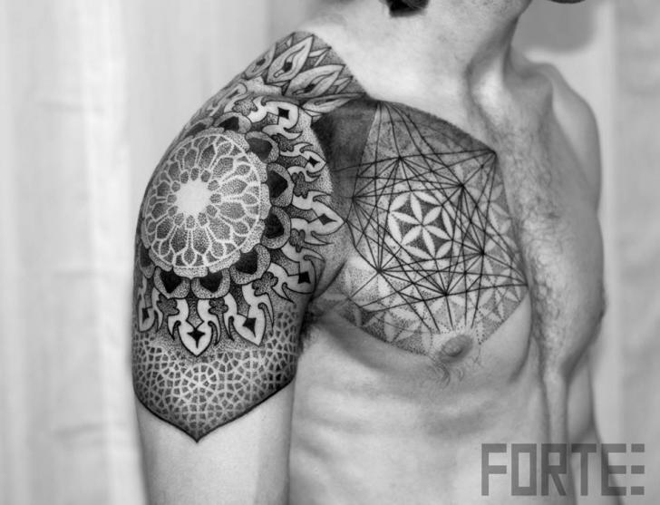 Shoulder Chest Dotwork Tattoo by Dillon Forte