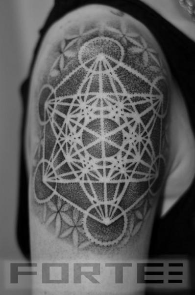 Shoulder Dotwork Geometric Tattoo by Dillon Forte
