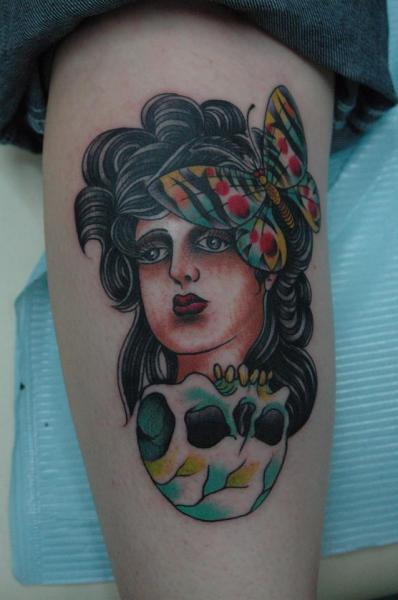 Arm New School Skull Butterfly Gypsy Tattoo by Chad Koeplinger