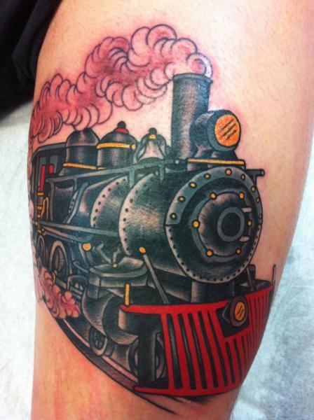 Arm Old School Train Tattoo by Chad Koeplinger