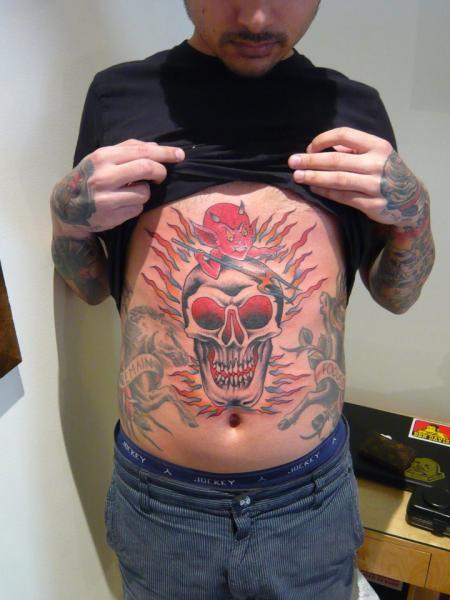 New School Skull Belly Devil Tattoo by Chad Koeplinger
