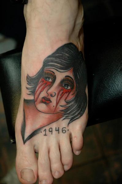 Old School Foot Women Blood Tattoo by Chad Koeplinger