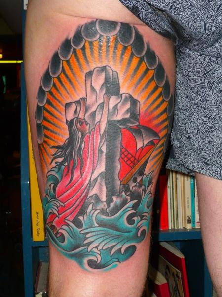 New School Leg Religious Tattoo by Chad Koeplinger