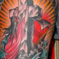 New School Leg Religious tattoo by Chad Koeplinger