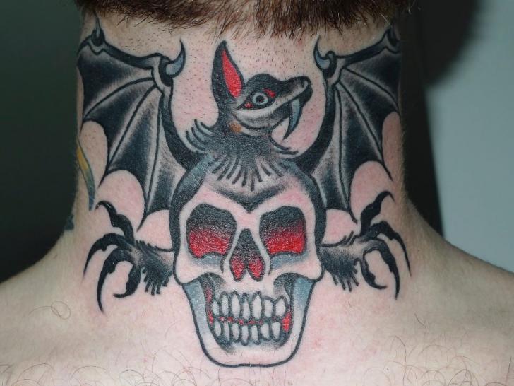 Old School Skull Neck Bat Tattoo by Chad Koeplinger