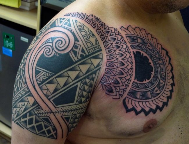 Shoulder Chest Tribal Maori Tattoo by Chad Koeplinger