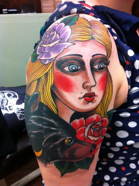 Shoulder New School Women Dog Tattoo by Chad Koeplinger