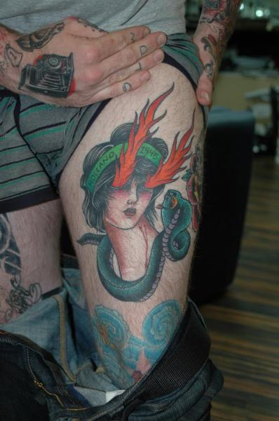 New School Snake Flame Thigh Tattoo by Chad Koeplinger