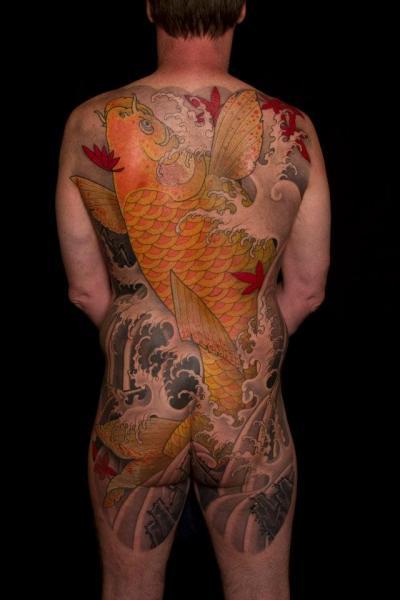 Japanese Back Carp Butt Koi Tattoo by Analog Tattoo