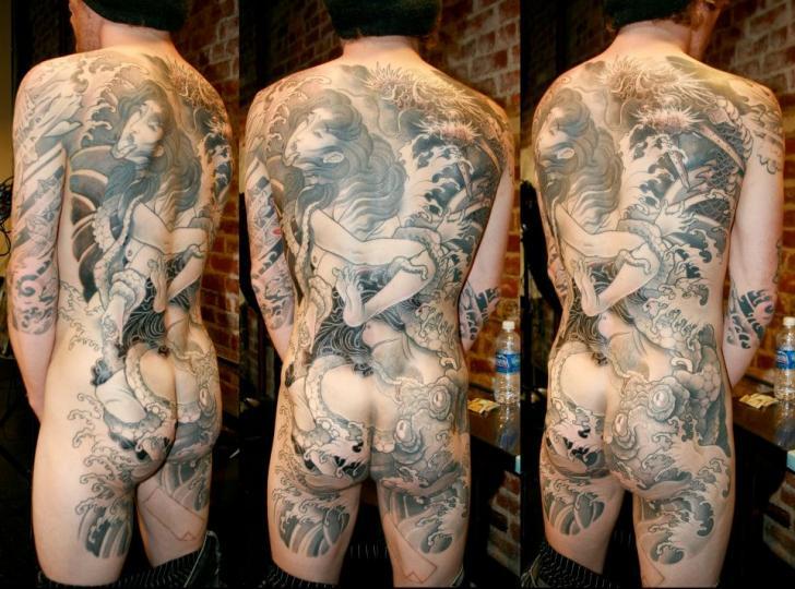 Japanese Back Butt Geisha Tattoo by Analog Tattoo