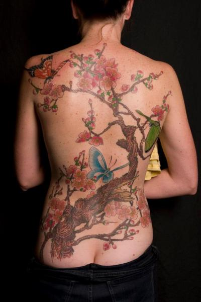 Realistic Flower Back Butterfly Cherry Tattoo by Analog Tattoo