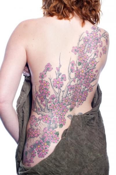Realistic Flower Back Cherry Tattoo by Analog Tattoo