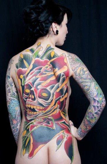 Flower Skull Back Tattoo by Analog Tattoo