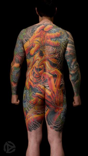 Fantasy Back Butt Body Sleeve Tattoo by Analog Tattoo