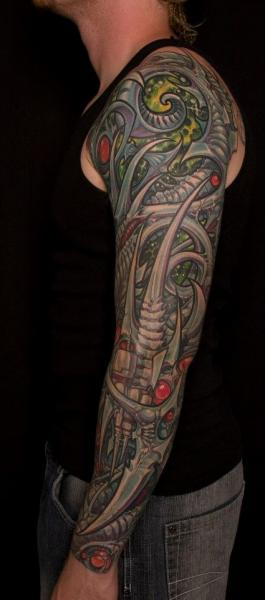 Biomechanical Sleeve Tattoo by Analog Tattoo