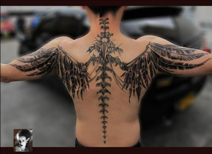Fantasy Back Wings Tattoo By Morbida Tattoo