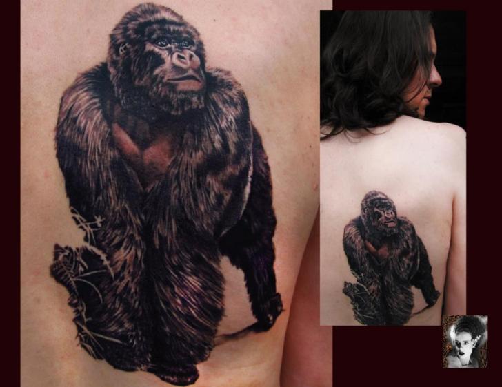 Realistic Back Gorilla Tattoo by Morbida Tattoo
