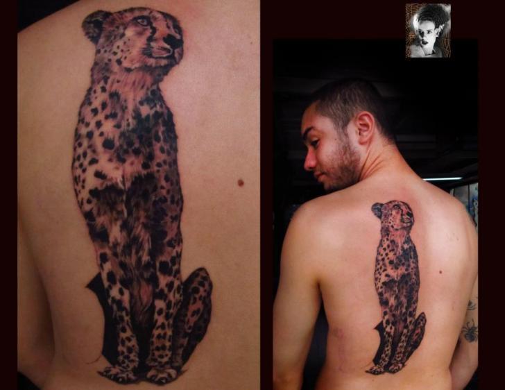 Realistic Back Leopard Tattoo by Morbida Tattoo