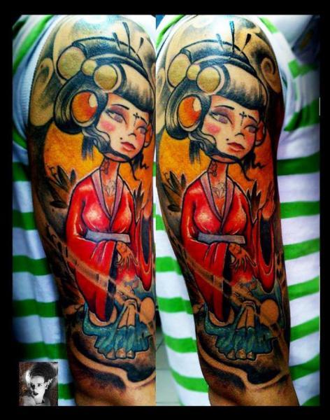 Shoulder Fantasy Geisha Tattoo by Morbida Tattoo