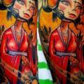 tatuaje Hombro Fantasy Geisha por Morbida Tattoo