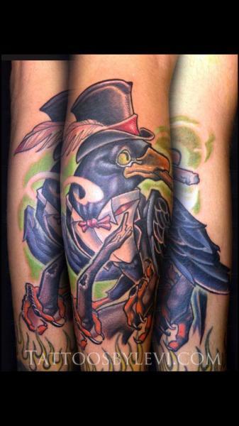 Arm Fantasy Crow Hat Tattoo by Levy Hilton