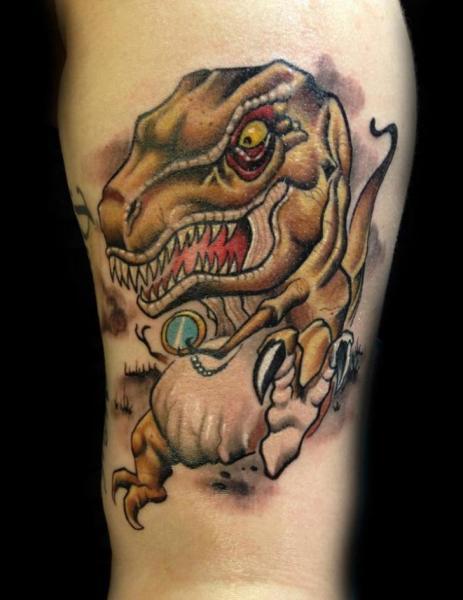 Arm Fantasy Dinosaur Tattoo by Levy Hilton