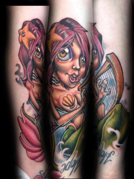 Arm Fantasy Mermaid Tattoo by Levy Hilton