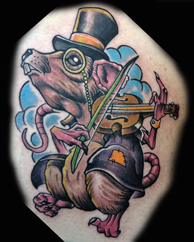 Arm Fantasy Mouse Tattoo by Levy Hilton