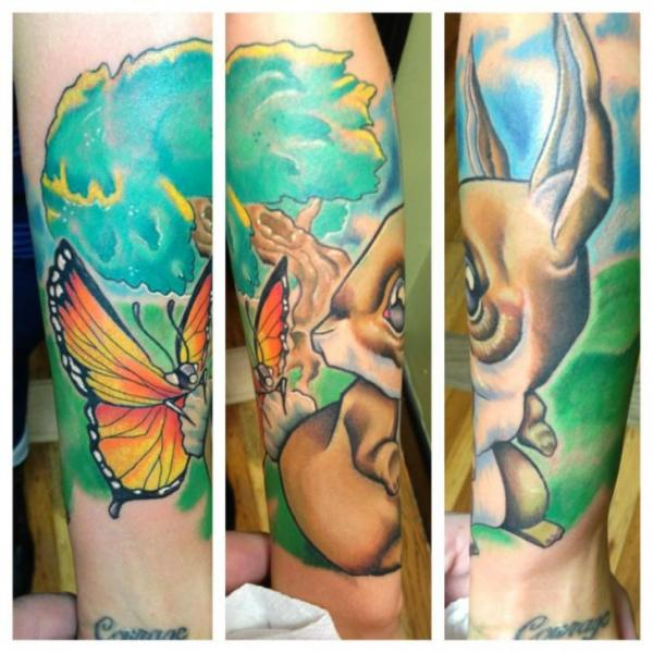 Arm Fantasy Butterfly Rabbit Tree Tattoo by Levy Hilton