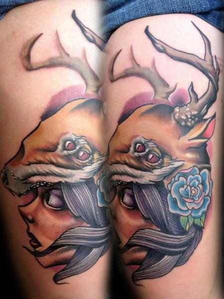Fantasy Leg Women Deer Tattoo by Levy Hilton