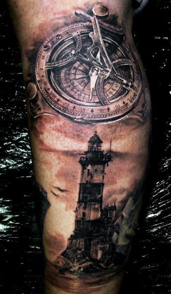 Arm Realistic Clock Lighthouse Tattoo by Ivan Yug