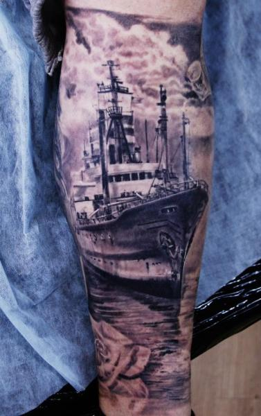 Arm Realistic Ship Tattoo by Ivan Yug