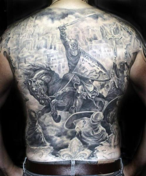 Realistic Back Warrior Horse Tattoo by Ivan Yug