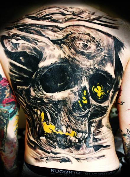 Skull Back Tattoo by Ivan Yug