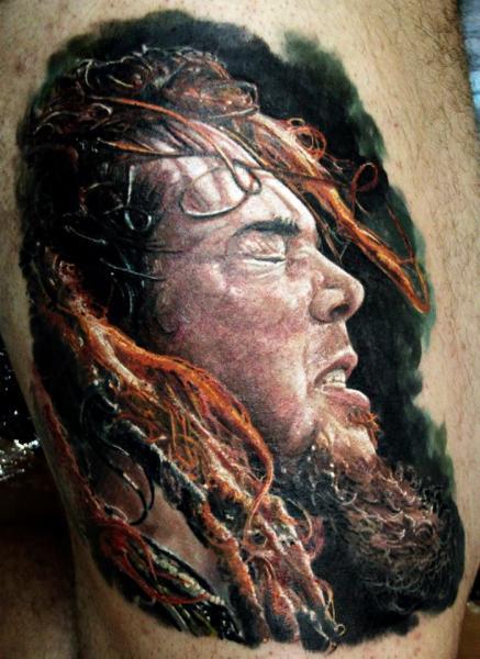 Porträt Realistische Waden Tattoo von Ivan Yug