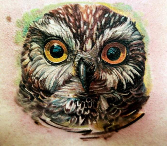 Realistic Owl Tattoo by Ivan Yug