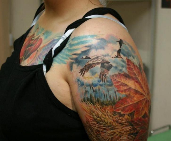 Shoulder Realistic Leaf Landscape Tattoo by Ivan Yug