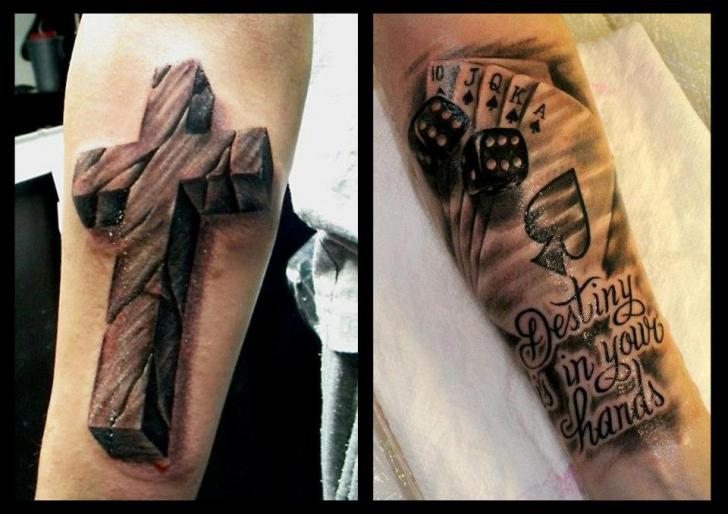 Arm Crux Würfel Ass Pik 3d Tattoo Von Delirium Tattoo