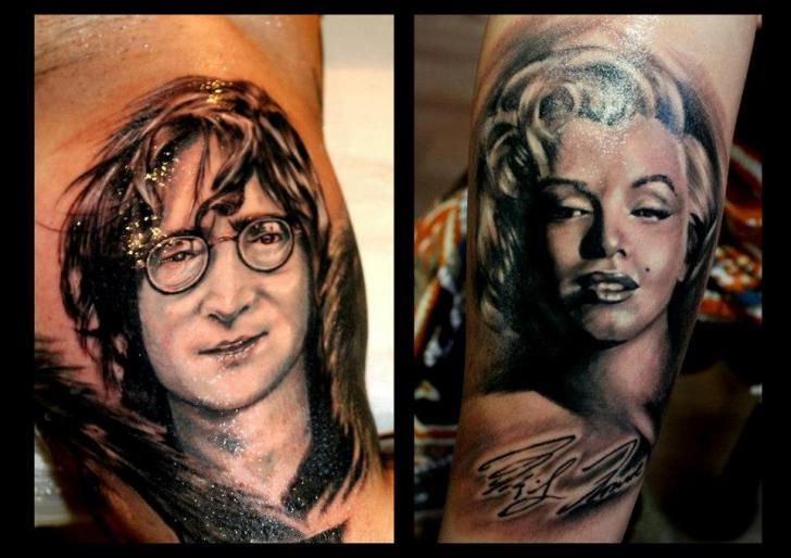 Arm Porträt Realistische John Lennon Marilyn Monroe Tattoo von Delirium Tattoo