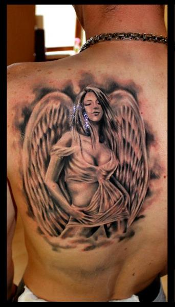 Fantasy Back Angel Tattoo by Delirium Tattoo