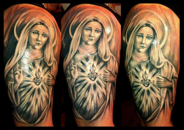 Shoulder Religious Tattoo by Delirium Tattoo