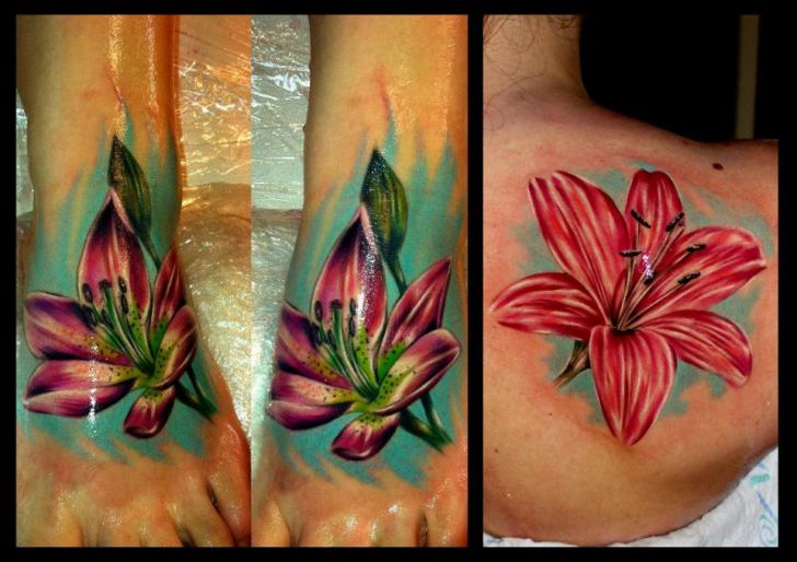 Shoulder Realistic Foot Flower Tattoo by Delirium Tattoo