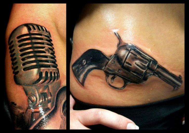 Realistic Side Gun Microphone Tattoo by Delirium Tattoo
