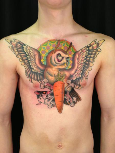 Fantasy Chest Owl Carrot Tattoo by Ed Perdomo