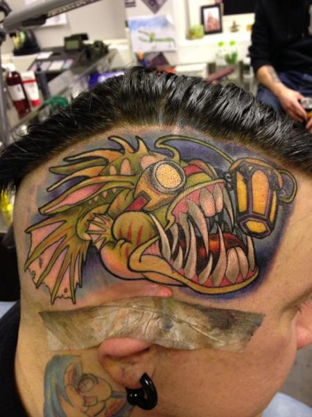 Fantasy Head Fish Tattoo by Ed Perdomo