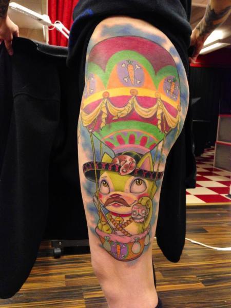 Tatuaggio Fantasy Gamba Gatto Palloncino di Ed Perdomo