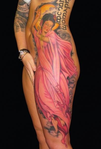 Realistic Leg Side Women Tattoo by Ed Perdomo