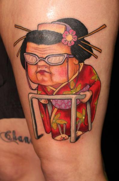 Japanische Charakter Oberschenkel Tattoo von Ed Perdomo